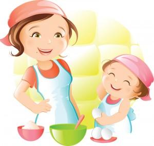mama si copilul in bucatarie