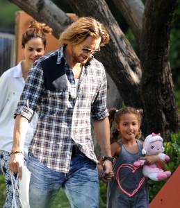 Gabriel Aubry Takes Daughter Nahla To School
