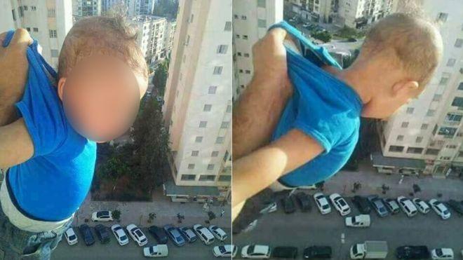 Un barbat a atarnat un copil pe geam pentru like-uri
