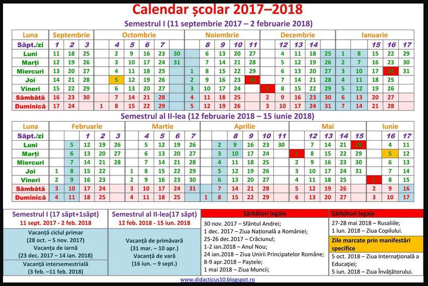 structura anului scolar 2017-2018