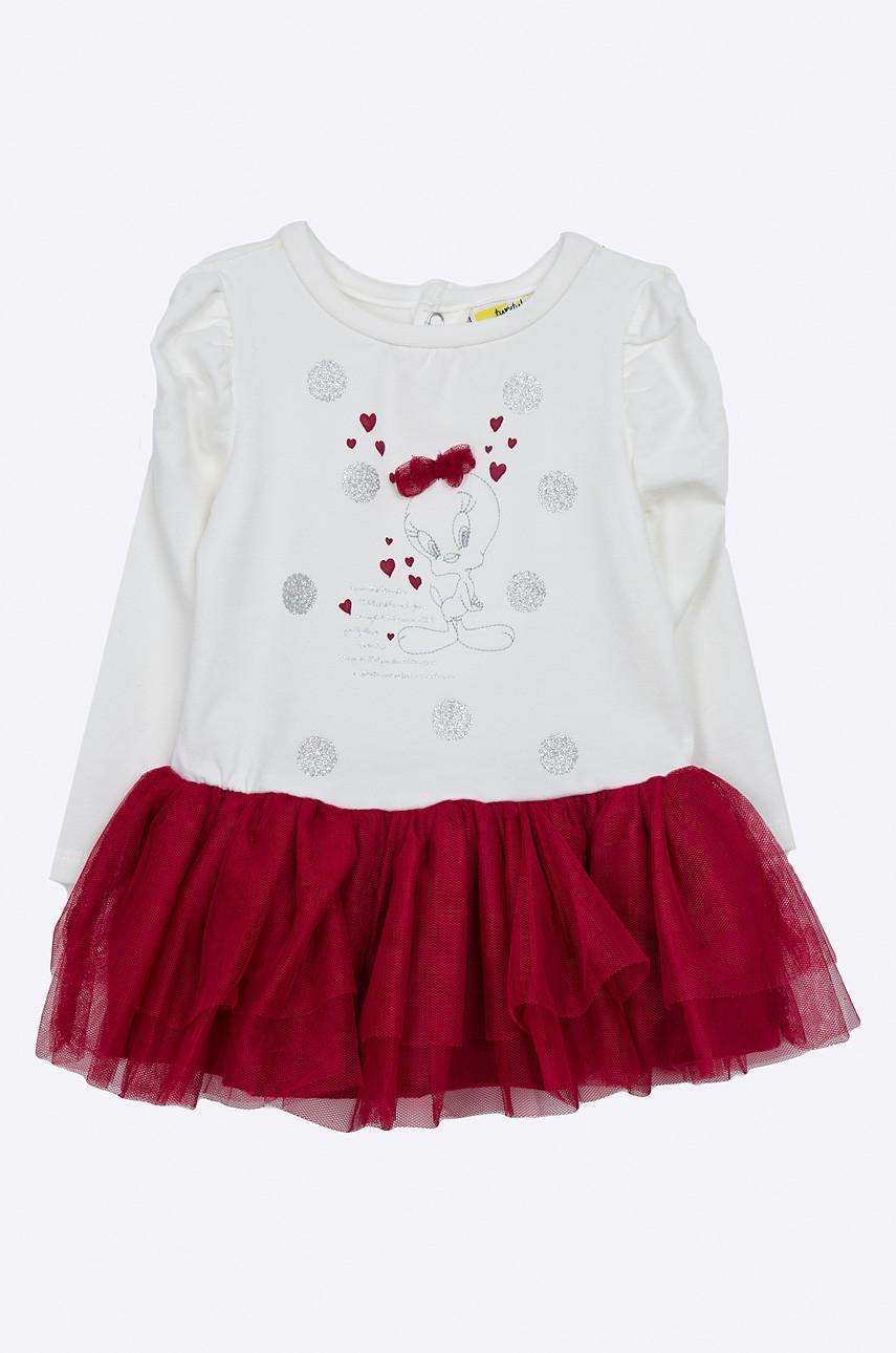 Haine noi pentru copii de Paște-rochie alb cu roz cu inserții decorative