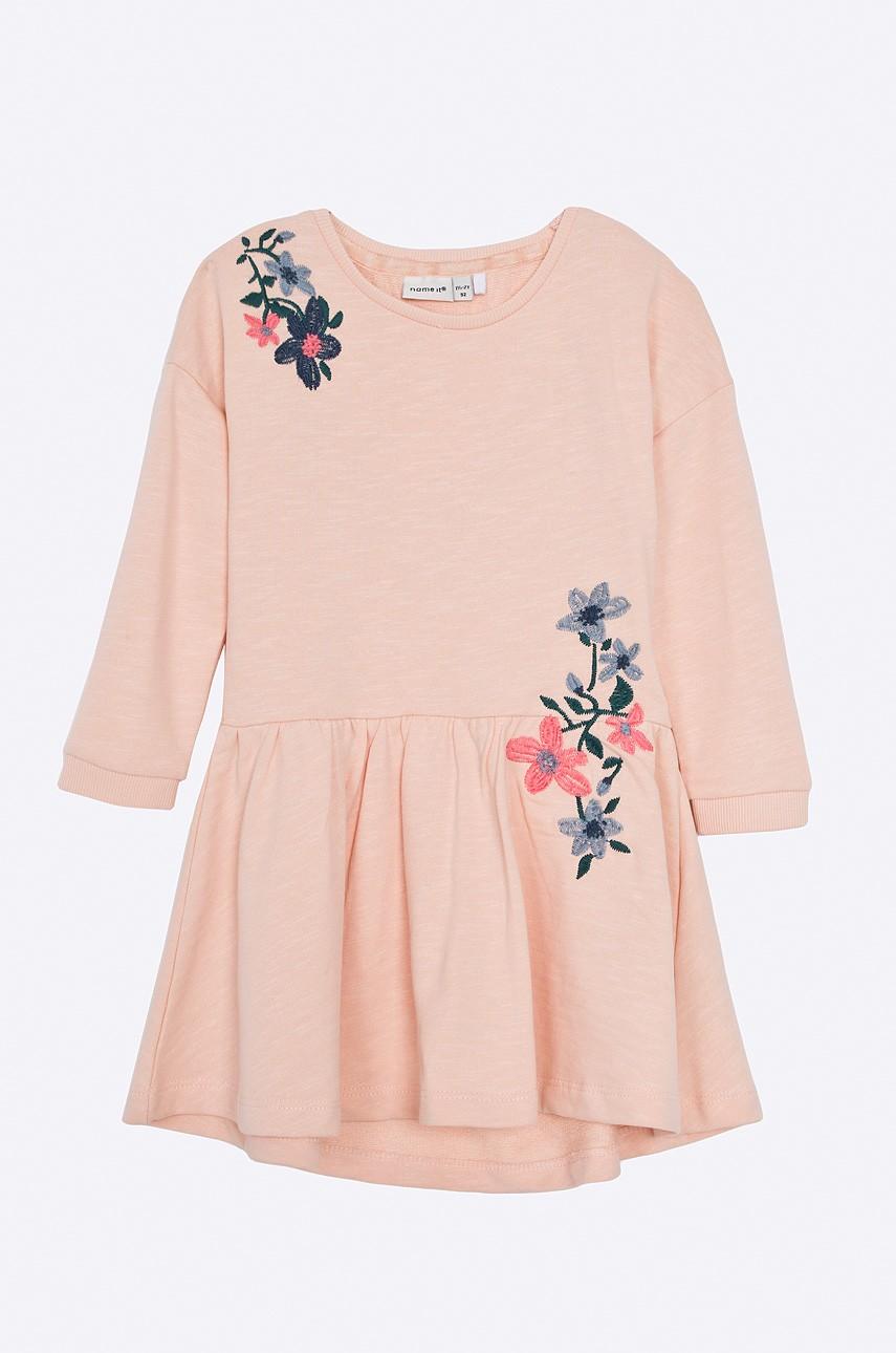 Haine noi pentru copii de Paște-rochie portocalie cu imprimeu floral