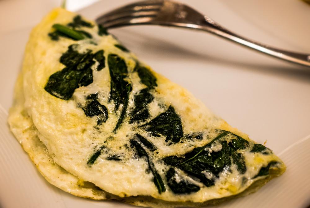 Idei de mic dejun- omletă cu spanac